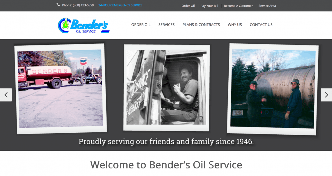 Bender's Oil Service website