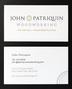 Patriquin Woodworking business cards